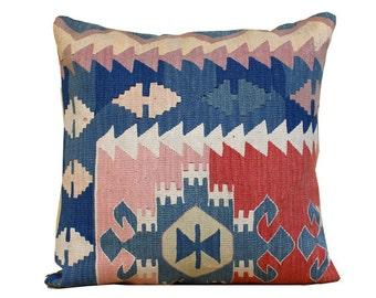 anatolia turkish hand woven kelim kissen 24x24 vintage kilim pillow bohemian pillow home decor kilim pillow navy pillow c07