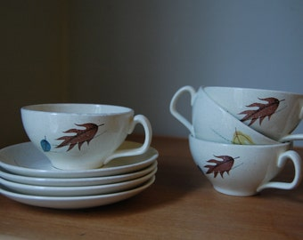 Franciscan Tea Cups and Saucers - Set of 4 - Autumn Leaves