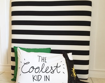Twin Size Upholstered Headboard in Black and White Stripes