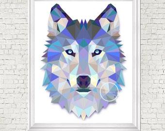Geometric print, modern print, nursery art, wolf, digital print, nursery decor, kids room art, printable, nursery wall art, modern nursery