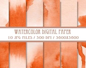 Orange Watercolor Digital Paper ( Instant Download )
