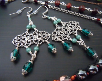 Pending prints (filigrees) silver and teal green Czech glass earrings - Bohemian chic - made in France