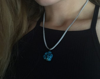 Gray Suede Cord Necklace with Bronze Clasp and Turquoise Pendant 16 inches