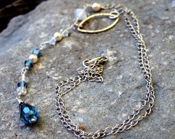 Sterling silver long necklace with Swarovski crystals, pearls and glass beads