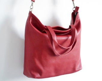 LONDON - TOP ZIP Red Leather Tote Bag Oversize Red Tote Italian Pebbled Leather Tote Bag
