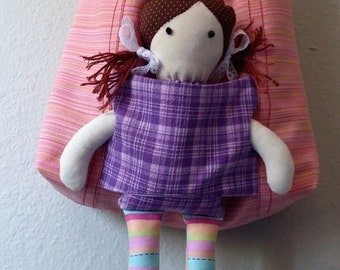 Pink Bag with Fabric Doll for Girls Bag for kids Bag and doll