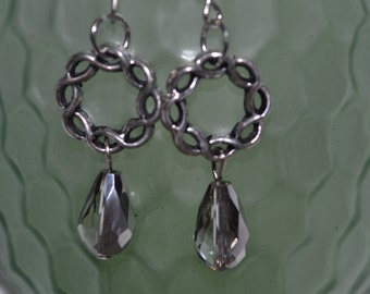 Classic silver braided drop earrings