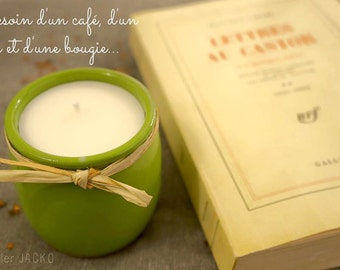 Natural green candle scented with essential oils