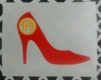 High Heel Monogram/High Heel Decal/Shoe Monogram/Shoe Sticker/Fashion Decal/Fashion/Decals/Monograms/Fashion Designer