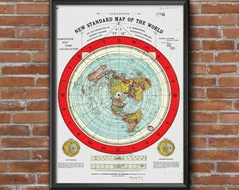 "Flat Earth Map. 1892 Gleason's New Standard Map Of The World Large 24"" x 36"" Poster Wall Art"