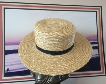 Straw Boater Hat Medium, Golden Corn Coloured with a Wide Rim and Taped Black Hatband