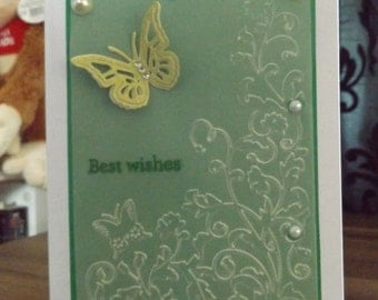 A handmade greetings card - Butterflies and Pearls