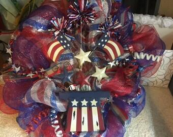 4th of July deco mesh wreath patriotic