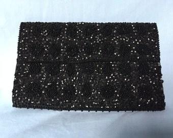 Vintage Black Bead and Sequin Clutch