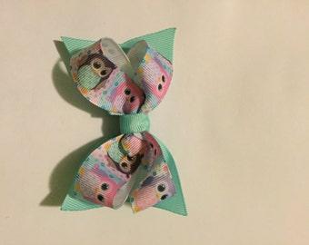 Aqua Owls bow