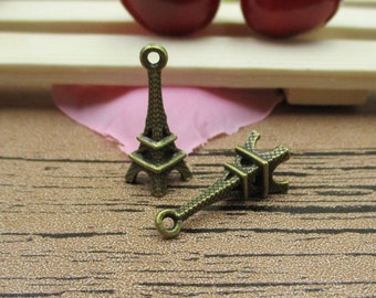 20 Little Eiffel Tower Charms, Antique Bronze Tone,3D Charms-RS222