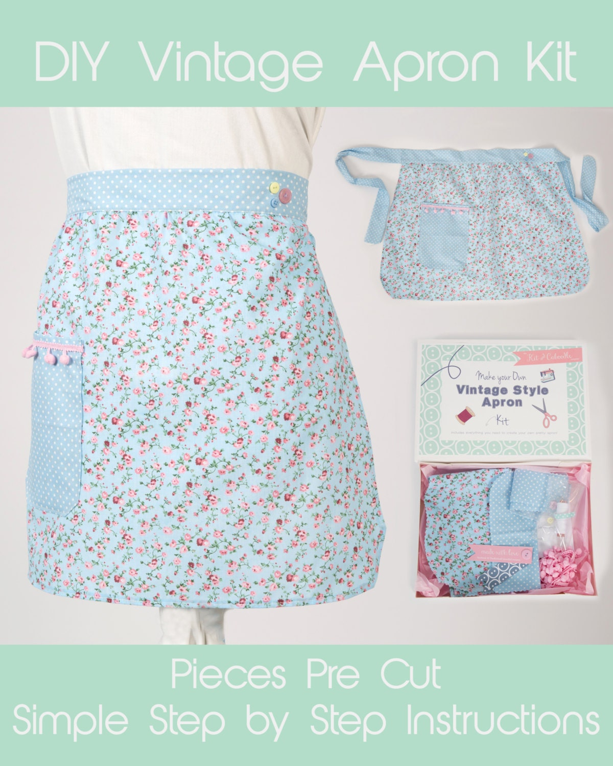 Vintage Style Apron Kit Sew Your Own Pinny Learn To Sew