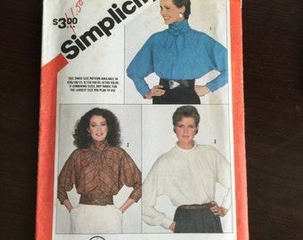 Trendy Dolman Sleeve Blouse - Simplicity #6070 Vintage Sewing Pattern Bust 38 40 42 in