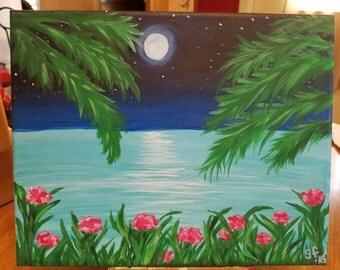Acrylic Painting Beach Sunset