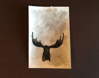 Grey scale moose head...
