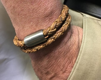 Mens Leather Bracelet-Braided Leather Bracelet-Mens Bracelet-Wrap Bracelet-Mens Jewelry-Stainless Steel Jewelry-Gifts for Him-Groomsmen