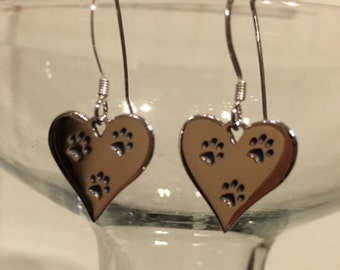 Three Paw Night Earrings Sterling Silver