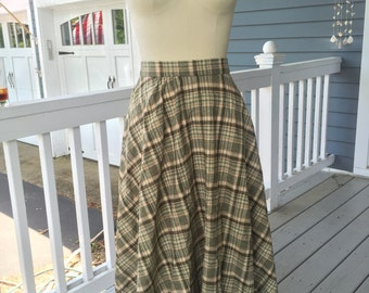 1980's College Town green/brown plaid wool blend skirt