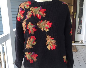 1990's Cambridge Dry Goods fall leaves heavy cotton knit sweater