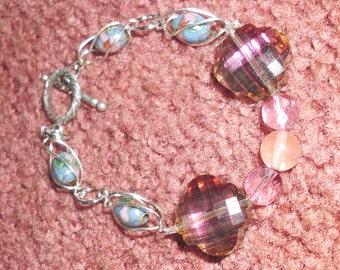 Gemstones sterling silver bracelet