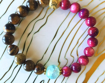 Tiger's Eye, Magenta Dyed Shell and Aqua Blue Crystal Quartz Beaded Bracelet