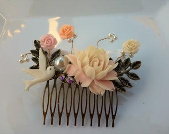 Pink hair comb, pink hair adornment, hair barette, all about hair, hair jewels, wedding hair comb, bridal hair comb, bridal hair, hair comb