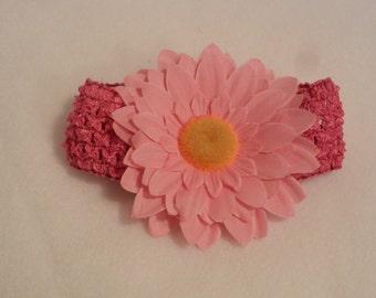 Pink headband with light pink flower