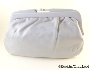 Light Grey Vintage Snap Clasp Purse Classic Simple Clutch Hand Bag
