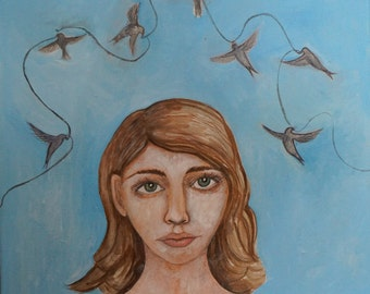 Original Dreamer with Swallows Acrylic on Canvas Painting