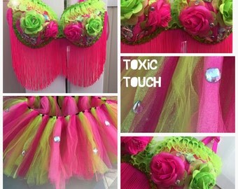 Neon Pink/Green Rave Outfit: Bra and Tutu - Pre-Made 36D