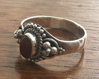 Carnelian 925 Sterling Silver Ring- Size L / M