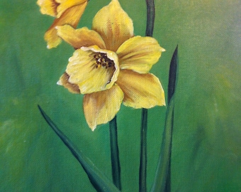 11 x 14 Original Oil Painting on Canvas Board......Narcissus
