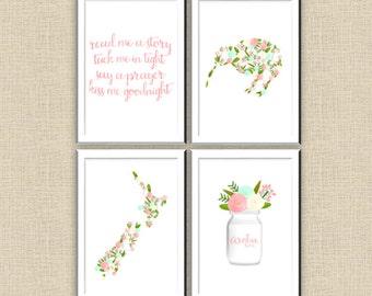 4 x Floral Kiwiana Prints New Zealand Kiwi and Aroha | A4 size