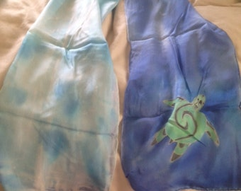 seaturtle hand painted silk scarf