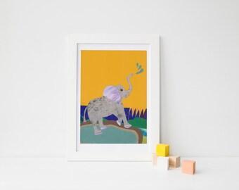Elephant Nursery, baby boy nursery, Jungle Nursery, Gift for baby, baby room decor, yellow nursery art, elephant wall art, elephant print