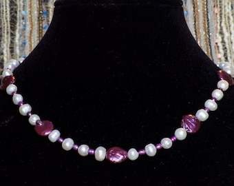 Purple and White Freshwater Pearls