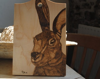 Pyrography - Original Art of  Rabbit on Chopping Board 'Twitch' - by Sally Marshall