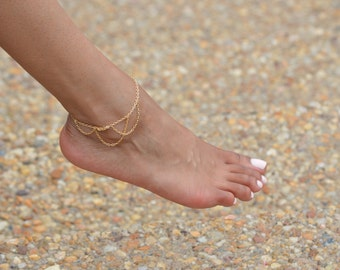 Gold Anklet, Gold Ankle Bracelet, Boho Jewelry, Summer Jewelry