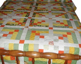 Twin Patchwork Quilt Handmade 100% Cotton In Yellows, Greens, Oranges and White