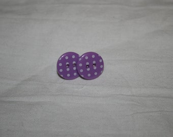 Purple and white polka-dot button earrings