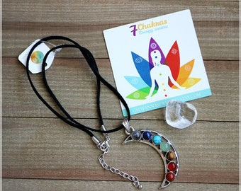 7 Chakra necklace. Moon Necklace. Crescent Moon Necklace. Chakra necklace.Spiritual healing necklace for Chakra balancing.7 chakras