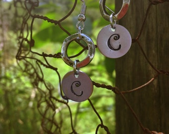 Hand stamped Initial Earrings
