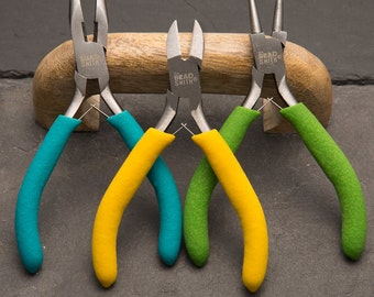 Plier set, jewellery making tools, bead smith colour coded tools, round nose pliers, chain nose pliers, cutters,