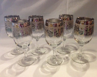 Mid century Silver fade wine glasses, set of 6