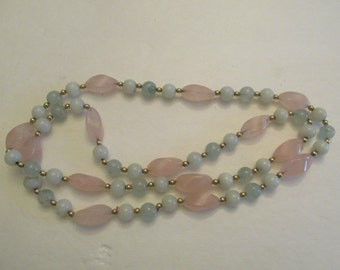 Stunning vintage pastel pink and green glass bead necklace